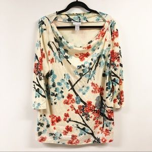 Soft Surroundings Floral Draping Blouse